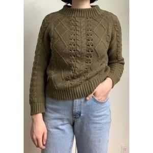 J. Crew Mock Neck Green Cable Knit Sweater